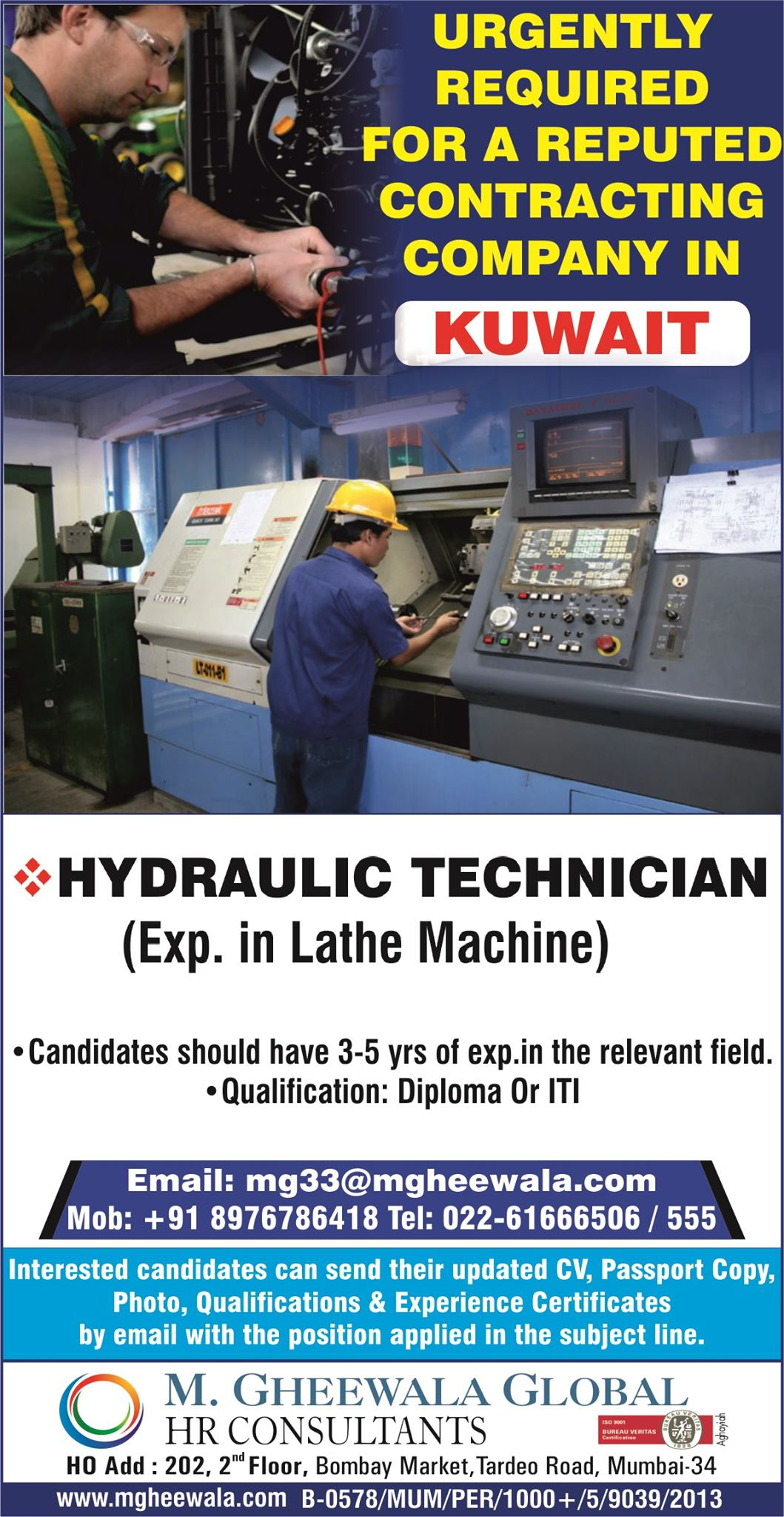 HYDRAULIC TECHNICIANS REQUIRED FOR KUWAIT